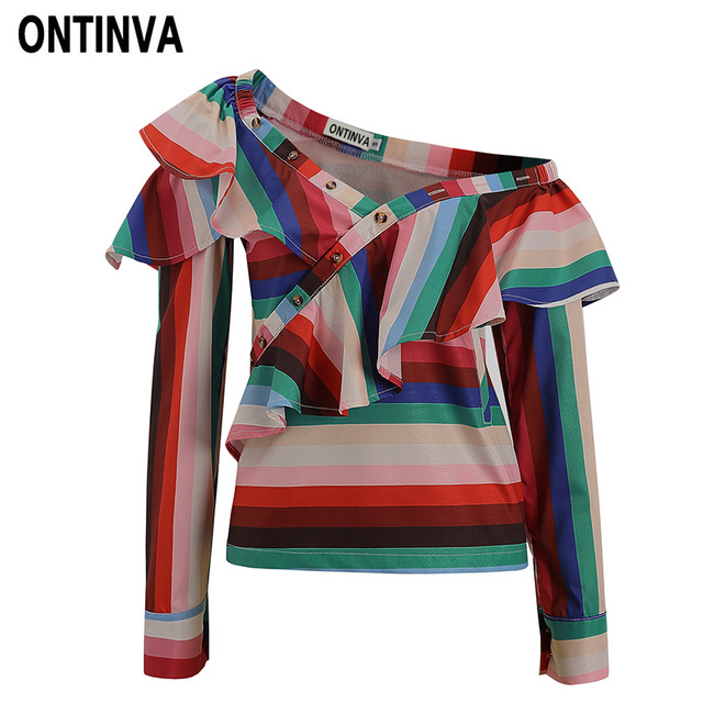 1f502878acc Sexy Rainbow Color Striped Ruffles Blouse Fashion Skew Collar with Button Women  Plus Size 5XL 4XL