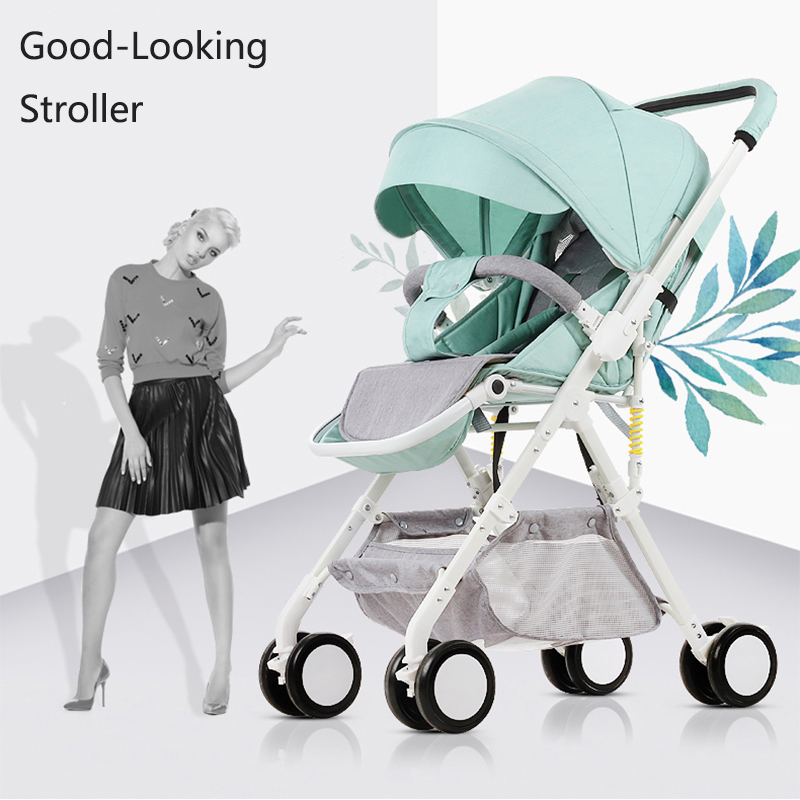 Light Weight Baby Stroller Can Sit Can Lie 2 in 1 Baby Pram Luxury Baby Travel System High Landscape Baby Pushchair pu leather backpacks women solid zipper mochila escolar school bags for teenagers girls travel casual shoulder bag blue backpack