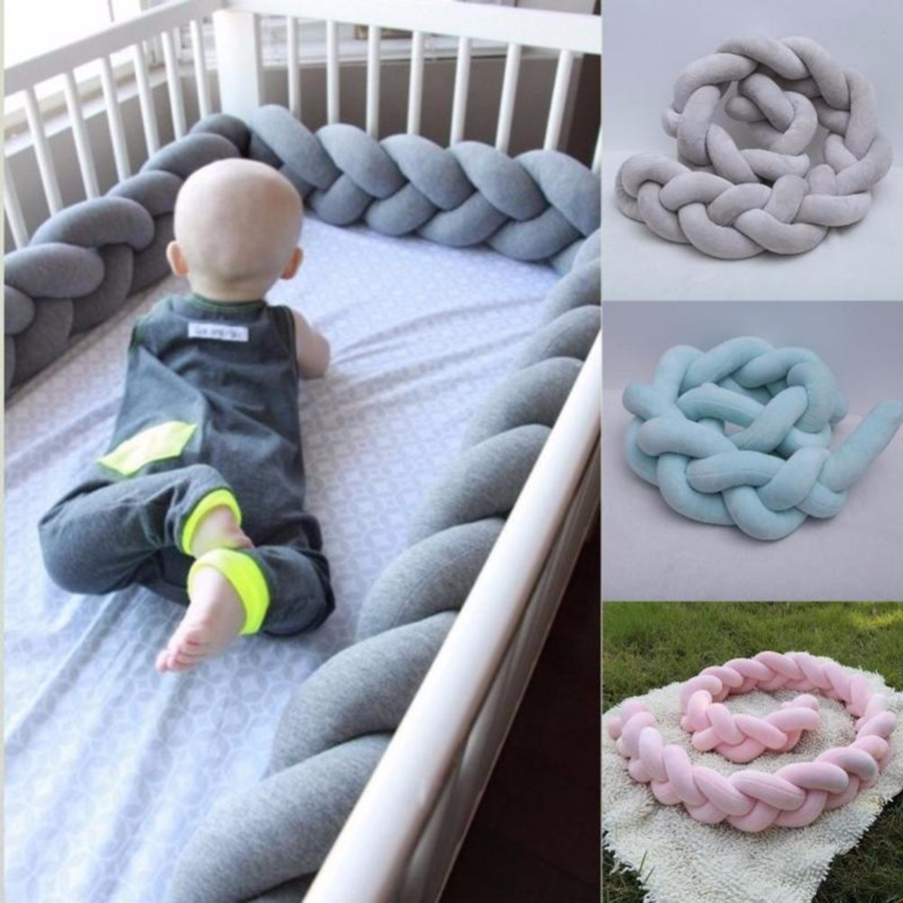 200cm Newborn Baby Bed Bumper Pure Color Weaving Knot for Infant Room Decor Crib Protector Bedding Accessories for Bed Decor ...