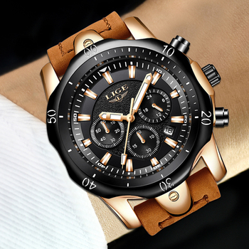 LIGE Men´s Luxury Casual Leather Military Waterproof Chronograph Sports Wrist Quartz Watches 4