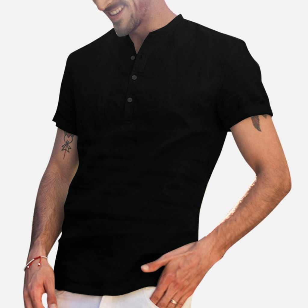 Degli uomini di estate Larghi di Cotone di Lino di Colore Soid Manica Corta Retro Camicette Magliette e camicette Camicetta di Alta Quantità di polo degli uomini