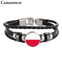 Canuomen Poland Leather Bracelets Snap Button Punk Fiji Islands Colombia Costa Rica Flags Glass Cabochon Charm Women Men Jewelry(China)