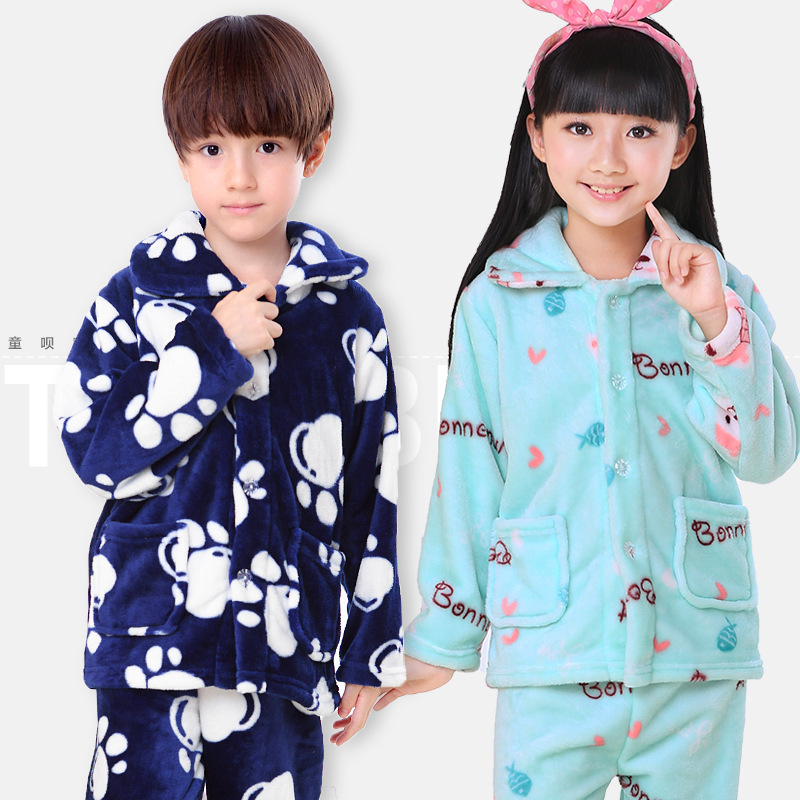 Winter Kids Pijamas Flannel Sleepwear Girls Boys Pyjamas Coral Fleece Kids Pajamas Sets 3-13T Kids Clothes Nightwear /Homewear