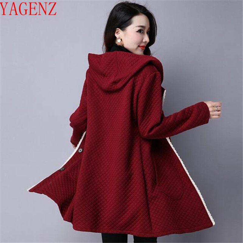 Jacket Cardigan Clothing Windbreaker Hooded Long-Sleeve Female Elegant Autumn Winter