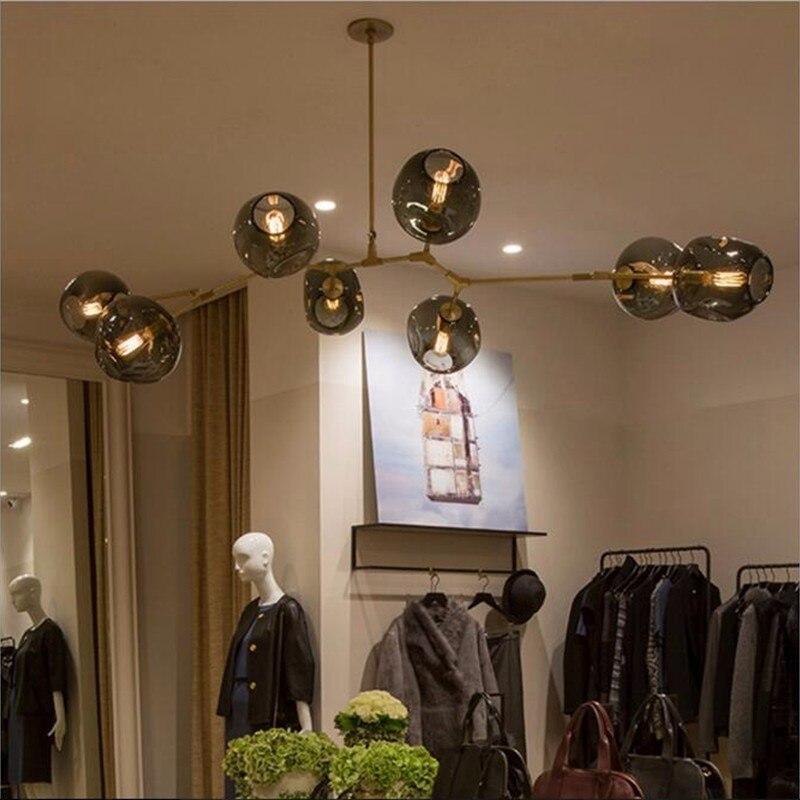 Adelman Moderne Verre Boules Loft Lustre Magie Poutres Pendentif Lampe Suspendue Lumière Branche De Luxe Luminaire Salon