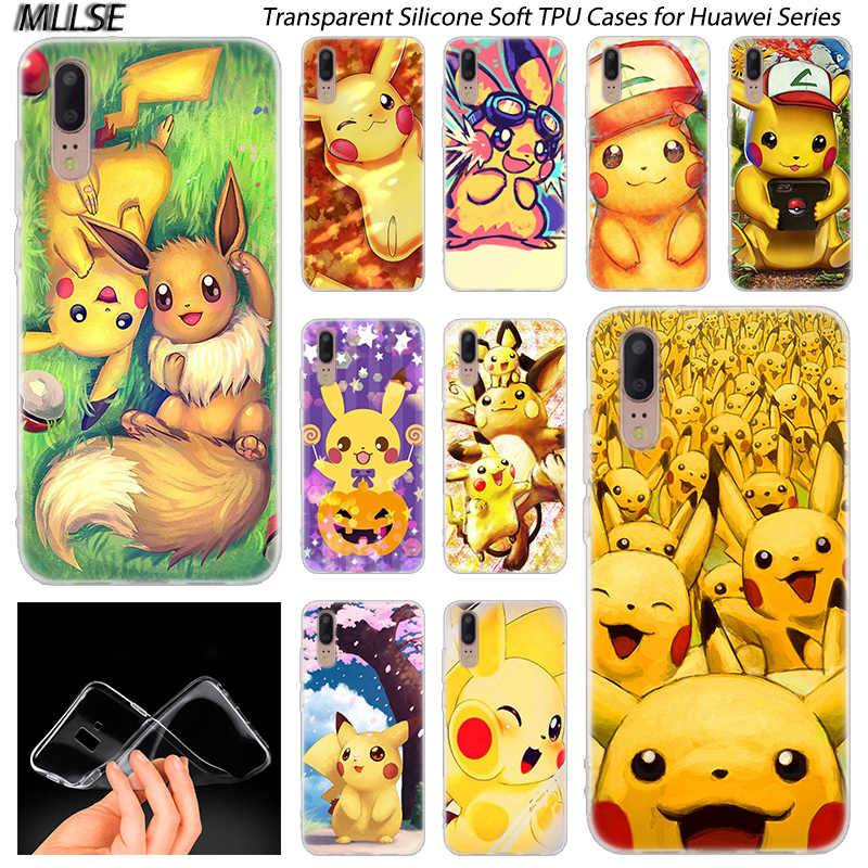 Hot Anime Pikachu Silicone Case for Huawei P30 P20 P10 P9 P8 Lite 2017 P30 P20 Pro Mini P Smart 2019 Plus Fashion Cover