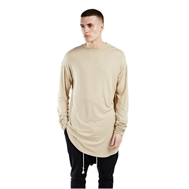 24bf5b452 Harajuku Men Hip Hop Swag Cardigan Streetwear Sweatshirts Men's Long Sleeve  T Shirt Dresses Plain Longline Extended Tall Tee