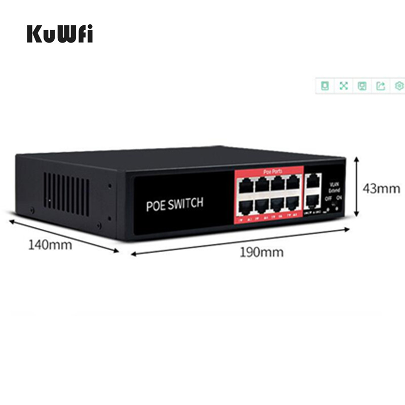 Image 3 - 48V POE Network Ethernet Switch 10/100Mbps 8 Ports Switch Injector For IP camera Wireless AP Mining Equipment-in Network Switches from Computer & Office