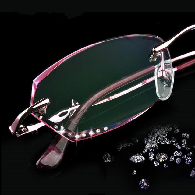 Rimless Eyeglasses Diamond Cut Eye Glasses For Women