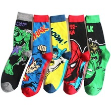 c6067809522d USA Fashion Cartoon Anime Superhero Socks Men Long Happy Art Funky Socks  Crazy Cool Flash Superman