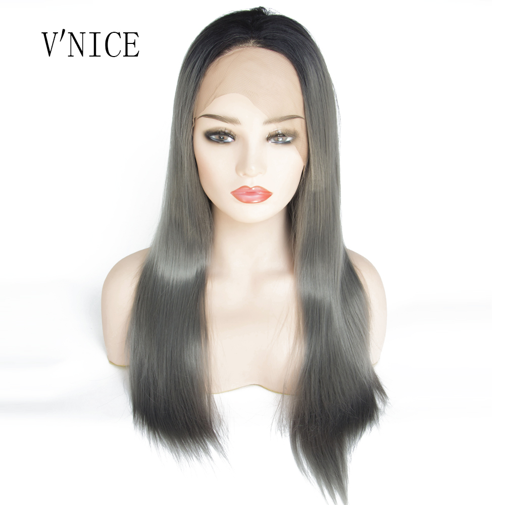 V'NICE Straight Black Roots Ombre Dark Grey Synthetic Lace Front Wigs High Temperature Fiber Cosplay Wigs For Women Wigs