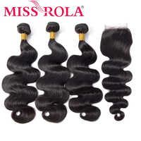 Fräulein Rola Brasilianische Haarwebart Bundles mit Verschluss 100% Menschliches Haar Natürliche Farbe Brasilianische Körper Welle Nicht-Remy Haar erweiterung