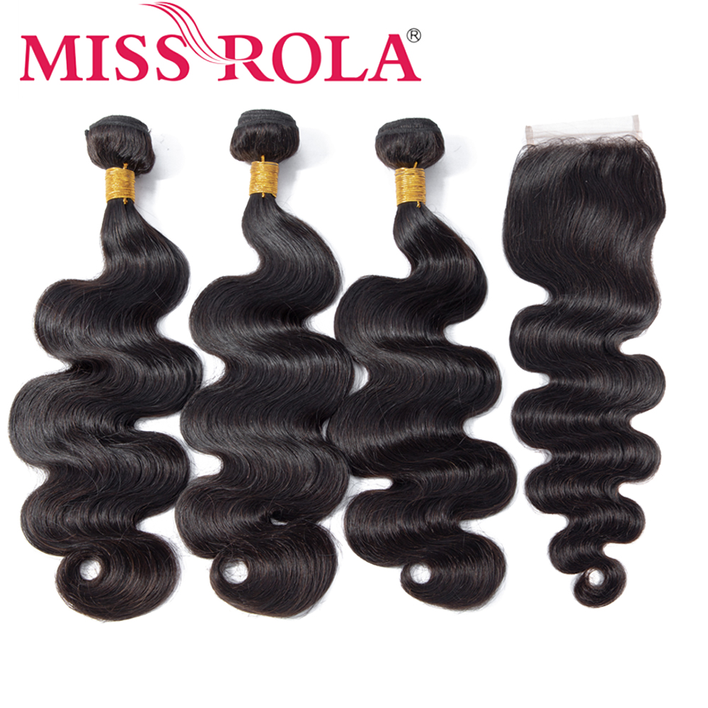 Miss Rola Brazilian Hair Weave Bundles With Closure 100% Human Hair Natural Color Brazilian Body Wave Non-Remy Hair Extension