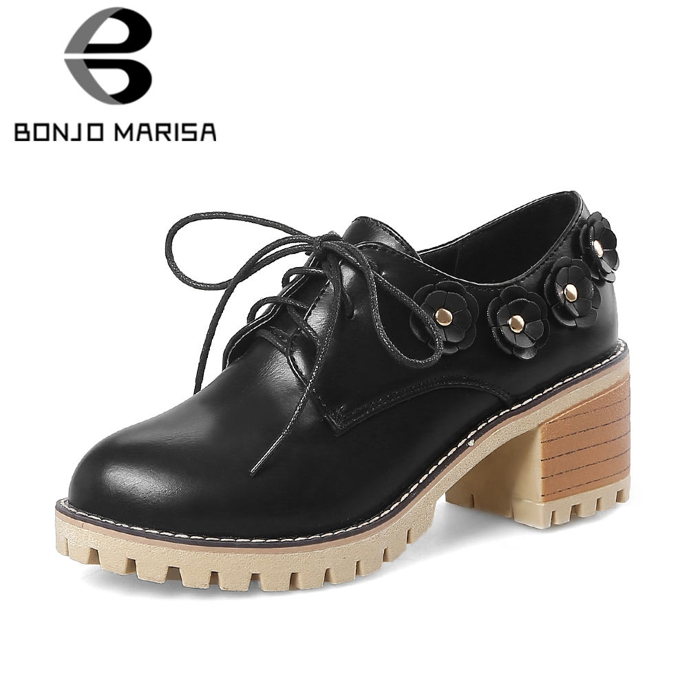 BONJOMARISA 2018 Big Size 34-43 Wholesale Chunky Heels Summer Pumps Women Shoes Lace Up Black Pink Shoes Woman
