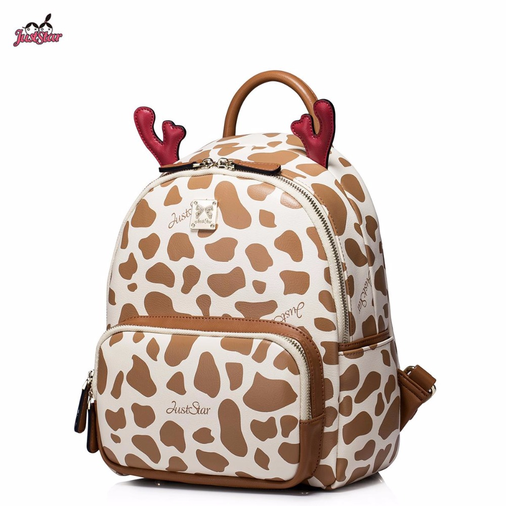 Just Star Brand Design Summer Fashion Cute Deer Horn Leopard Printing PU Leather Women's Backpack Travel Bag For Girls star island summer