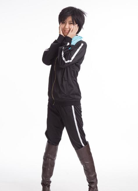 Anime Noragami Yato Cosplay Costume Jacket Suit Sportswear Whole Set Coat Pants Scarf WIG HEAR Free