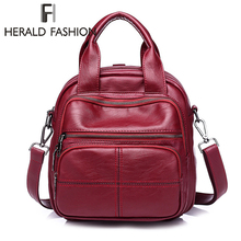 Herald Fashion High Quality PU Leather Women Backpack Solid School Bags For Teenager Girls Large Capacity Casual Traveling Bags