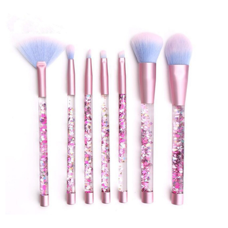7pcs Liquid Makeup Brush With Crystal Handle Powder Foundation Eye Shadow Blush Blending Cosmetics Beauty Make Up Brush Tool