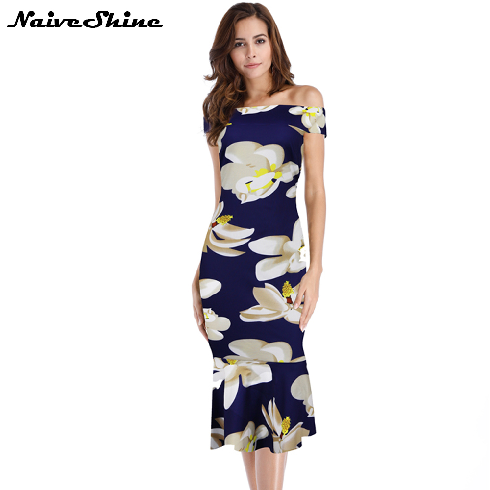 Naive Shine <font><b>Elegant</b></font> Slash neck <font><b>Sexy</b></font> <font><b>Party</b></font> Dresses <font><b>Off</b></font> <font><b>Shoulder</b></font> Floral Print Mermaid <font><b>Bodycon</b></font> Women's Casual <font><b>2018</b></font> Summer Dress image