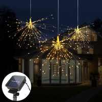 120Led 200 светодиодная Солнечная лампа Starburst струнный светильник медный провод солнечная панель Питание фея DIY фейерверк Рождество взрыв Сваде...