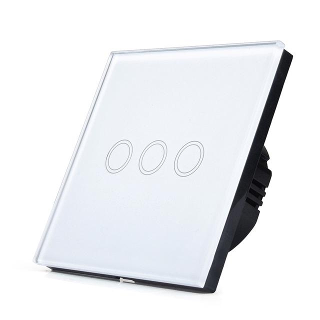 Padrão DA UE 3 Gang 1 Vias Interruptor de Toque Do Painel de Vidro Cristal, apenas Toque Interruptor de Parede, toque Interruptor On/Off, LED + Interruptor de iluminação Toque