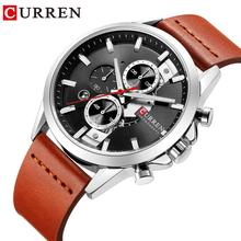 CURREN Mens Quartz Wristwatch Genuine Leather Waterproof Automatic Watches Calendar Dial Luxury Business Clock Relogio Masculino