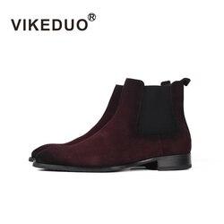 Vikeduo Herren Handgemachte Chelsea Stiefel 2019 Winter Wildleder Boot Männlichen Vintage Retro Schuhe Solide Ankle Karree Schuh Sapato Masculina