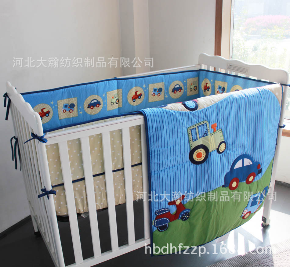 Promotion! 3PCS Crib Baby Bedding Set Boy Animal Design Baby Bedding Set (bumper+duvet+bed cover)