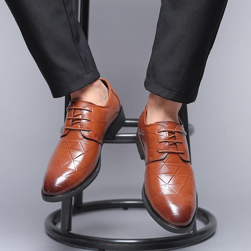 Men Sapatos Até Flats Apontou Respirável Luxo Preto Couro Novos Negócios marrom Black Brown plaid Dos Lazer De Homens Clássico Rendas Marca Toe plaid Formal w4nIqO
