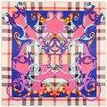 Классический британский стиль баба решетки цветок пояса мозаика шелка саржевого шаль шарф-жа