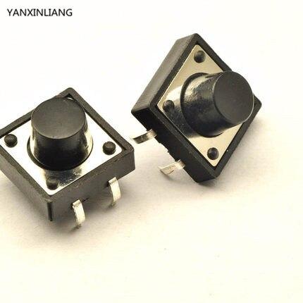 20pcs/lot 12x12x9MM 4PIN Tactile Tact Push Button Micro Switch Self-reset DIP Top Copper Free Shipping