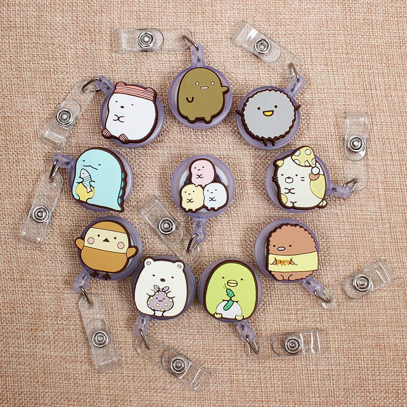 Creative Cartoon Animal Retractable Badge Holder Reel Exhibition Enfermera Students Girl Name PU Card Hospital Office Chest Card