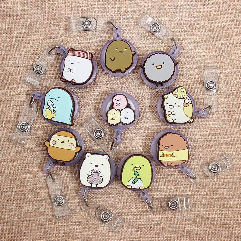 Creative Cartoon Animal Retractable Badge Holder Reel Exhibition Enfermera Students Girl Name PU Card Hospital Office Chest Card