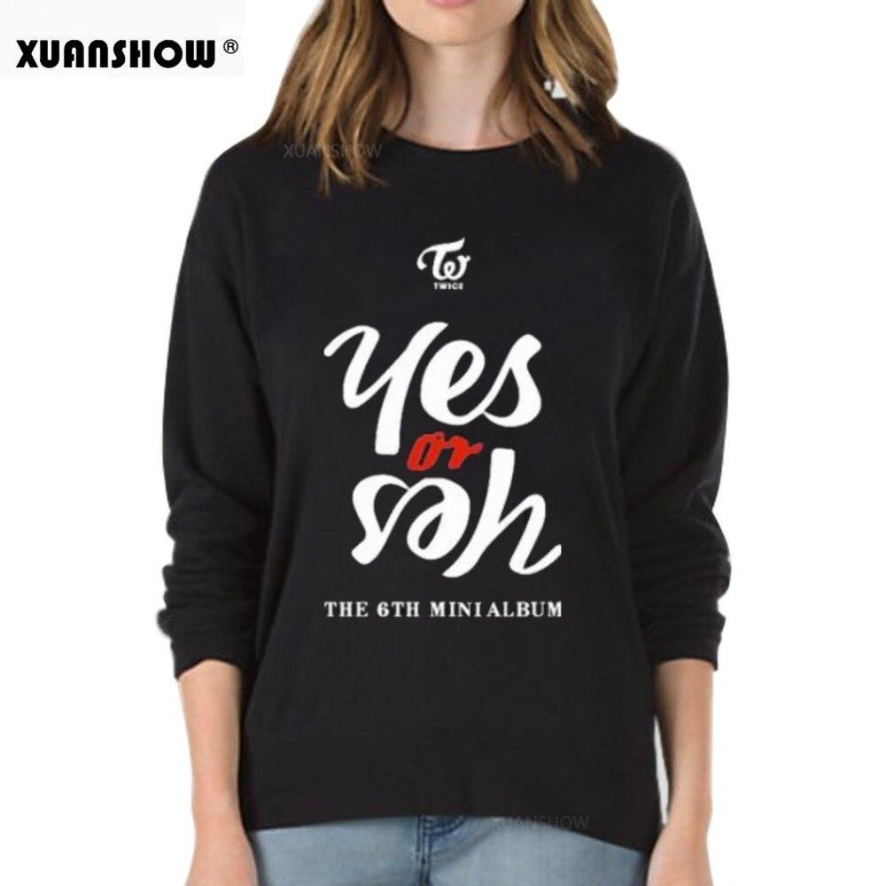 XUANSHOW 2018 nueva moda dos veces Kpop sudadera de lana Casual letras impresa sudaderas con capucha ropa Jersey manga larga Tops