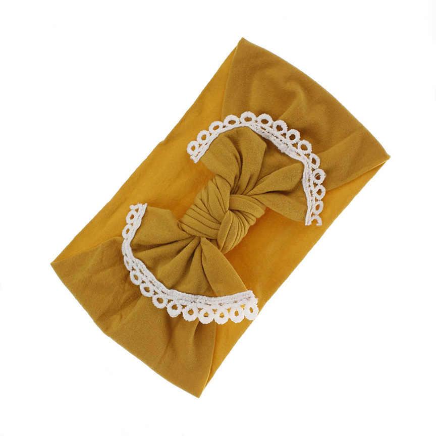 Кружевная отделка бант нейлоновая головная повязка в виде чалмы, бантик широкий нейлоновый головной убор, аксессуары для волос для девочек