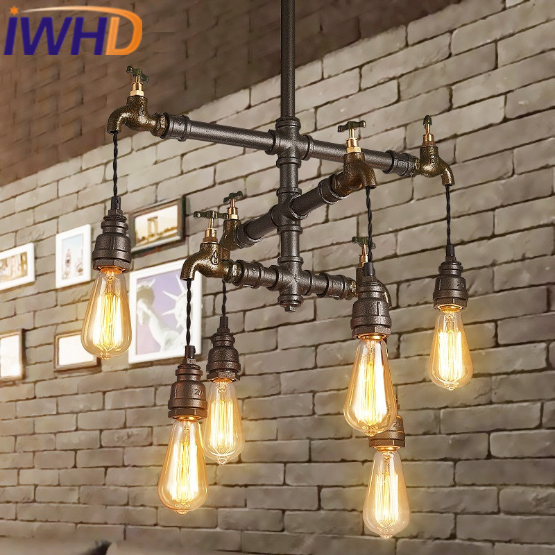 IWHD Vintage Industrial Lighting Hanging Lamp Loft Style Water Pipe Retro Pendant Light Bedroom Bar Restaurant Suspension Lights iwhd loft style iron water pipe pendant light fixtures hemp rope edison vintage industrial lighting mirror glass hanging lamp
