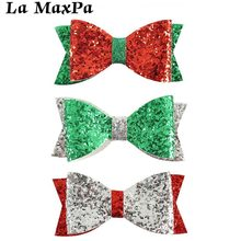 4 Christmas Hair Bows Green Red Silver Glitter Sparkle Bow With Alligator Clip For Girls gift
