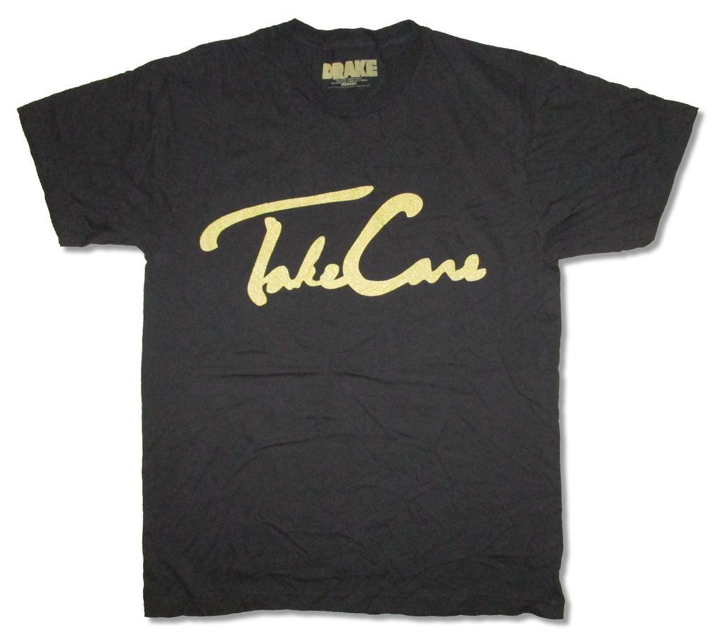 Drake Take Care Gold Print Black T Shirt New Official Adult In T