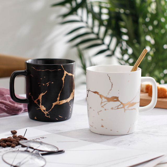 "380ml marble with gold inlay ceramic coffee mugs matte finish black and white office drinking milk.jpg 640x640 - tabletop-and-bar, drinkware - ""Le Royal"" Collection Marble Mug"
