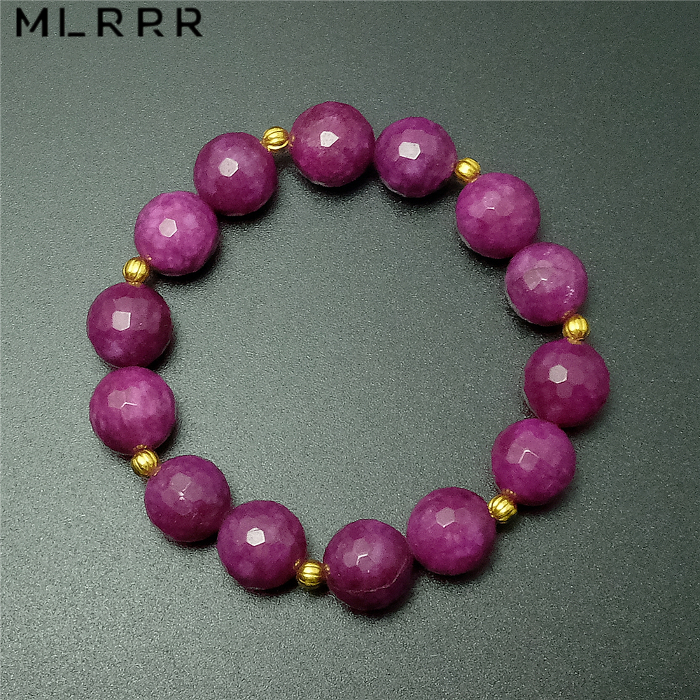 Vintage Classic Natural Stone Jewelry Elegant Noble Rose Rubies Crystals Beaded Charms Chain Strand Bracelet 1