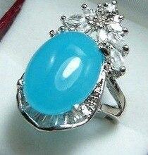 Stunning! sapphire blue Oval & Crystal Ring US size 6 7 8 9# Girl WOMEN Quartz 2pcs ringe Silver hook