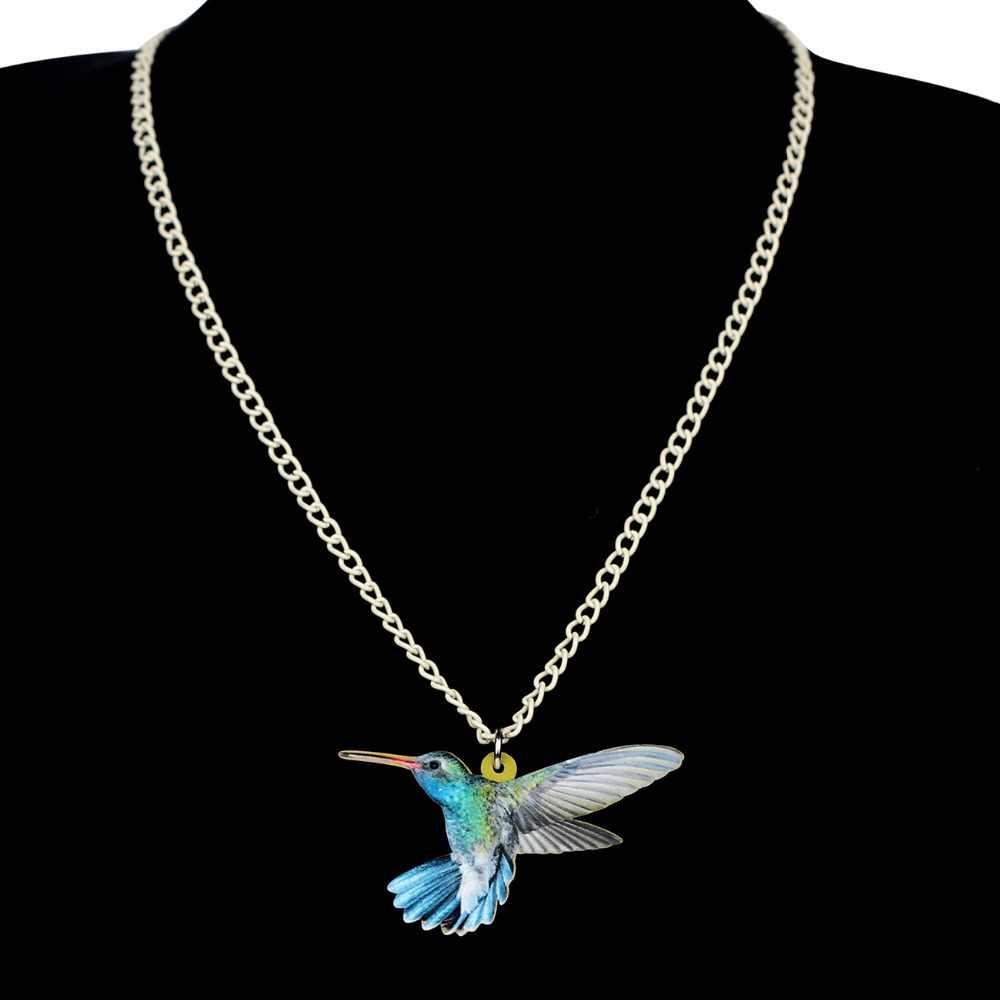 Bonsny Acrylic Thời Trang Hummingbird Bird Vòng Cổ Mặt Dây Chuyền Chuỗi Cổ Áo Độc Đáo Động Vật Trang Sức Cho Phụ Nữ Cô Gái Phụ Kiện Món Quà Mới