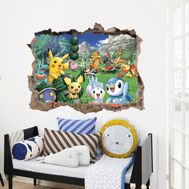 buy cartoon pikachu pokemon go wall stickers for kids rooms wall decals poster. Black Bedroom Furniture Sets. Home Design Ideas