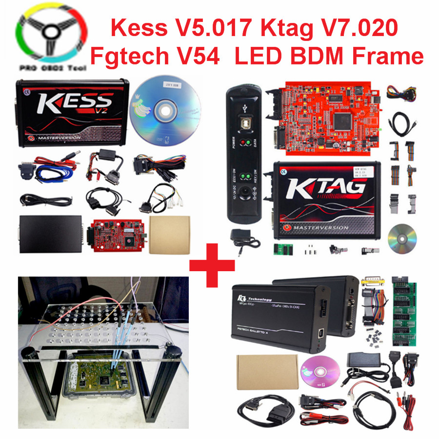 Master Kess V2 EU Red Kess V5.017 Online V2.47 V2.23 OBD2 ECU Chip Tuning No Token Limited Ktag V7.020 With 4 LED ECU Programmer