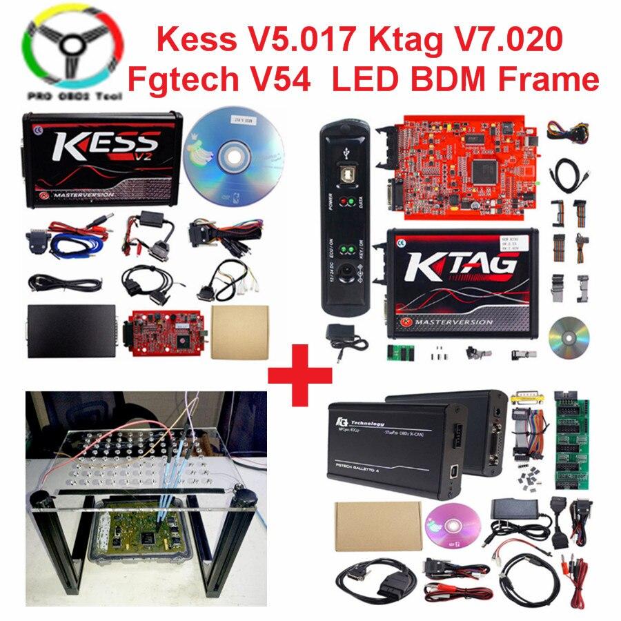 Online V2.47 EU Rot Kess V5.017 OBD2 Manager Tuning Kit KTAG V7.020 4 LED Kess V2 5,017 K-TAG 7,020 ECU programmierer LED BDM Rahmen