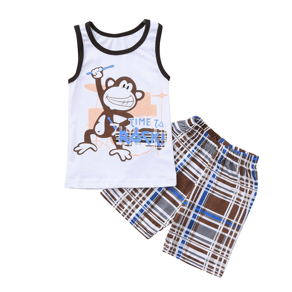 Clothing Sets Mother & Kids Latest Collection Of Childrens Set 2pcs Kids Baby Boys Sleeveless Animal Monkey Letter Print Tops+checks Lattice Print Pants Outfits Sets Ropa Nios