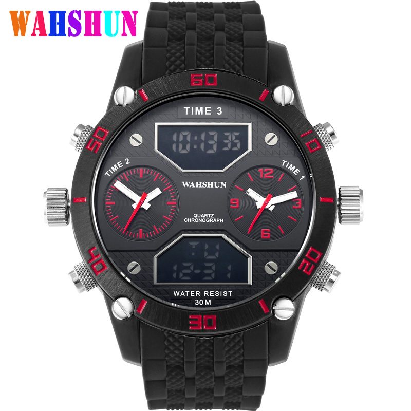 Top Luxury Brand Military Style Watches Men LED Quartz Clocks Fashion Double Movement Waterproof Sports Watch Relogio Masculino 2014 new arrival fashion men sports dual movement analog watches military quartz luxury fashion brand led watch 30m waterproofed oversize wristwatch red