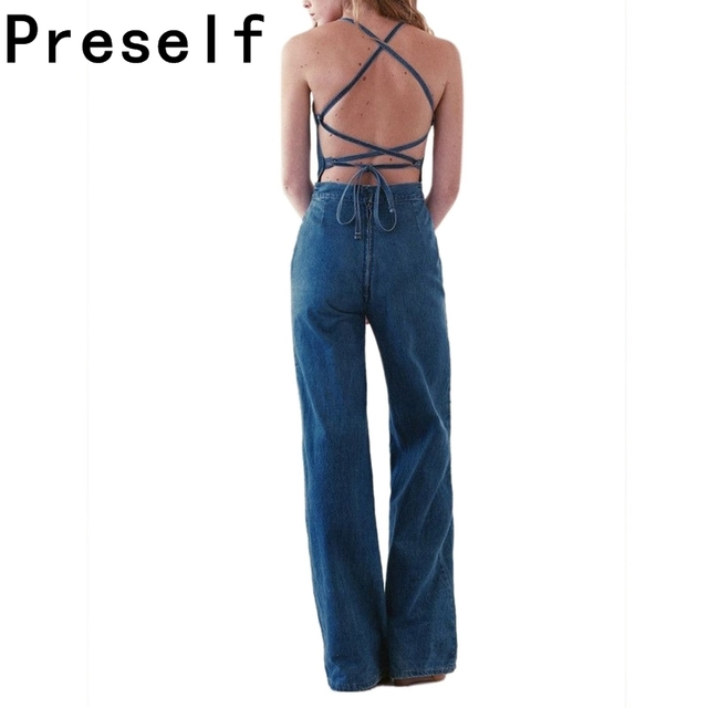 Preself Plus Size rompers womens jumpsuit Sleeveless Sexy New summer Vintage Backless Cross Denim Wide Leg Playsuit Romper