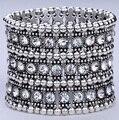 Multilayer stretch cuff bracelet women crystal wedding bridal jewelry 3 ROW B11 silver gold black wholesale dropship