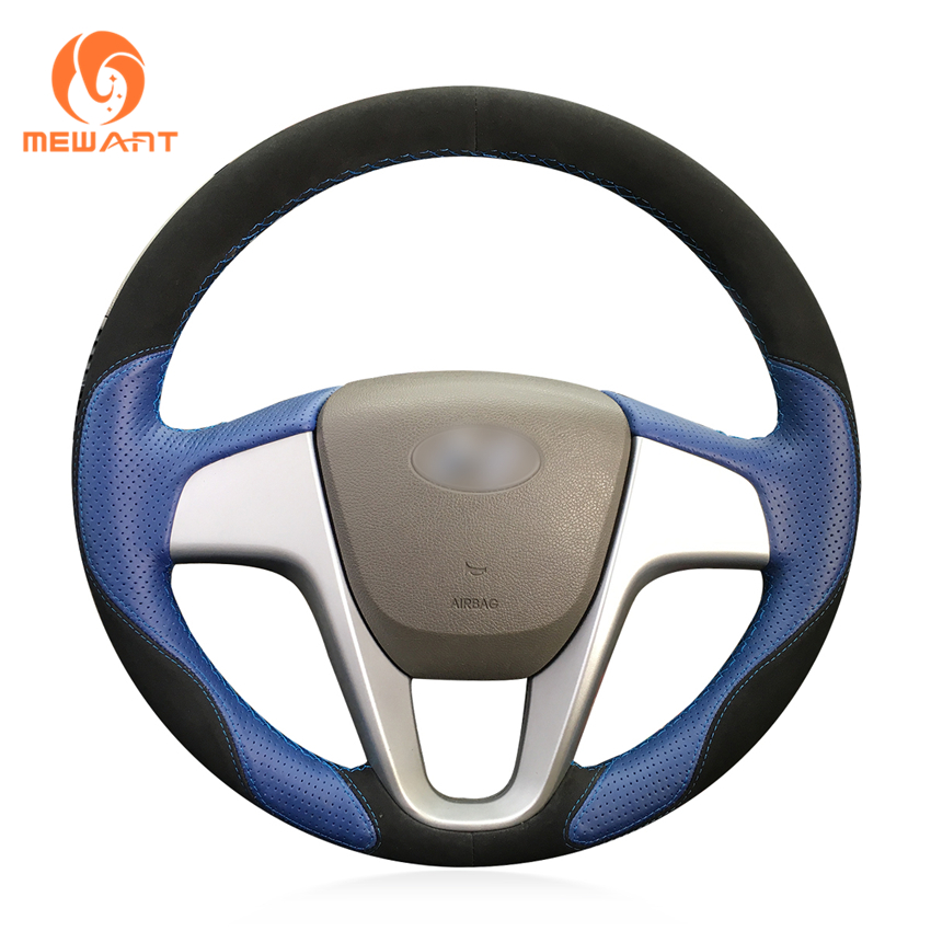 MEWANT Blue Leather Black Suede Car Steering Wheel Cover for Hyundai Solaris (RU) 2010-2016 Verna 2010-2016 i20 2009-2015 Accent mewant wine red leather black suede car steering wheel cover for chevrolet cruze 2009 2014 aveo 2011 2014 orlando 2010 2015